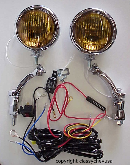 "KIT Amber 5"" Fog Lights w Chrome Brackets & wiring harness 12 VOLT"