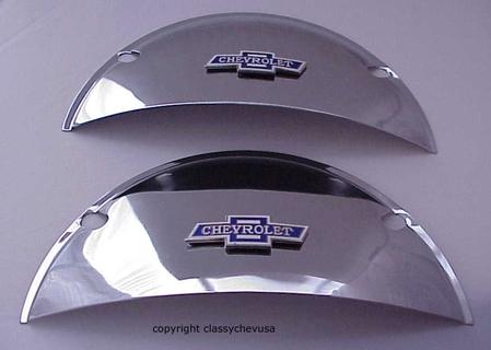 "Chrome Chevy Bowtie Headlight Covers Half Moon 7"" - PAIR"