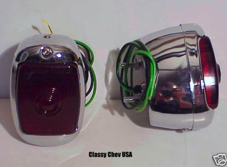 1940-1953 Chevrolet Truck Tail Lights - Chrome with Red Lenses - PAIR