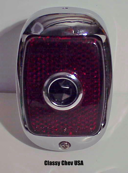 1940-53 Chevrolet Truck Tail Light Assembly Chrome with Red Lens and Blue Dot - Right