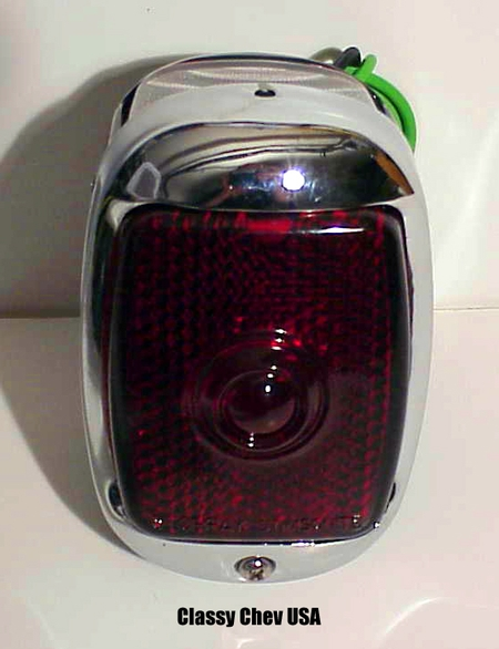 1940-1953 Chevrolet Truck Tail Light Assembly - Chrome with Red Lens - LEFT
