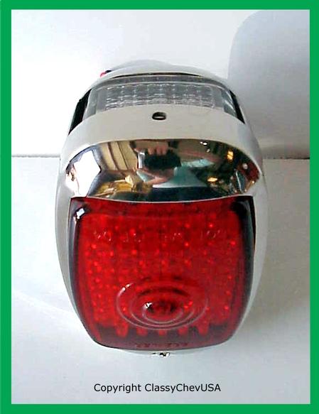 1940-1953 Chevrolet Truck Tail Light Assembly - Stainless Steel - Red LED Lens - LEFT