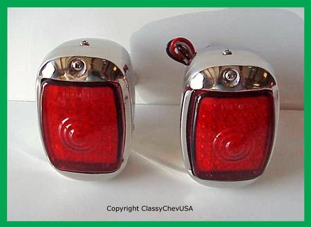 1940-1953 Chevrolet Truck Tail Light Assembly - Stainless Steel - Red LED Lens - PAIR