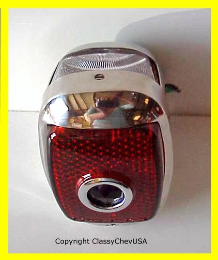 1940-53 Chevrolet Truck Tail Light Assembly - Stainless Steel - Blue Dot Lens - LEFT