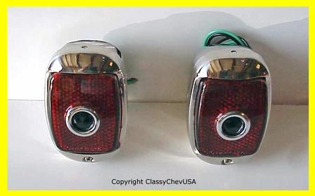 1940-53 Chevrolet Truck Tail Light Assembly - Stainless Steel - Blue Dot Lens - PAIR