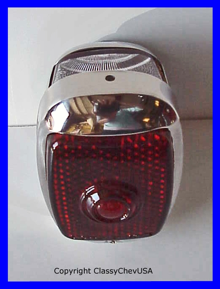 1940-53 Chevrolet Truck Tail Light Assembly - Stainless Steel - Red GLASS Lens - LEFT