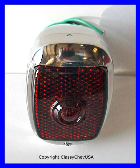 1940-53 Chevrolet Truck Tail Light Assembly - Stainless Steel - Red GLASS Lens - RIGHT