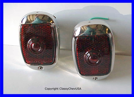 1940-1953 Chevrolet Truck Tail Light Assembly - Stainless Steel - Red Glass Lens - PAIR