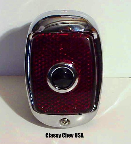 1940-1953 Chevrolet Truck Tail Light Assembly - Black Casing - Red Glass with BLUE DOT Lens - RIGHT