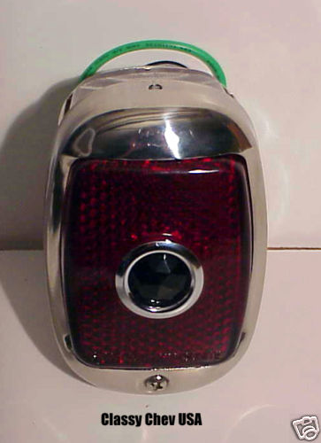 1940-1953 Chevrolet Truck Tail Light Assembly - Black Casing - Red Glass with BLUE DOT Lens - LEFT