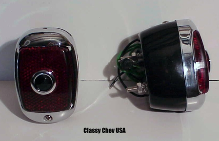 1940-53 Chevrolet Truck Tail Light Assembly - Black Casing - Red Glass with Blue Dot Lens - PAIR
