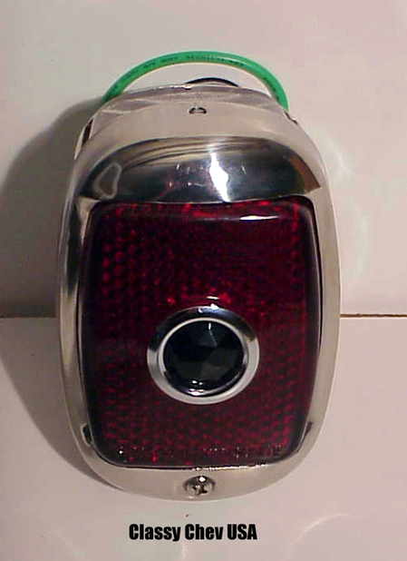 1940-1953 Chevrolet Truck Tail Light Assembly - Chrome Casing - Red Glass with Blue Dot Lens - LEFT