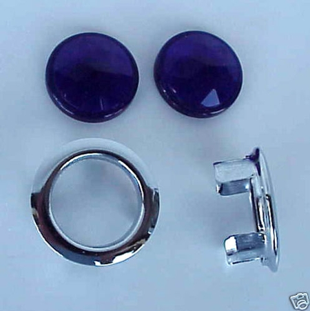 "Blue Dot Jeweled Glass ""Dots"" for Lenses - with Bezels - PAIR"