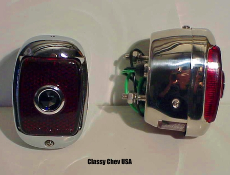 1940-1953 Chevrolet Truck Tail Light Assembly - Chrome Case w/ Red Glass & Blue Jeweled Dot Lens