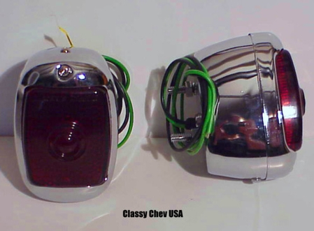 1940-1953 Chevrolet Truck Tail Light Assembly - Chrome Case w Red Glass Lens - PAIR