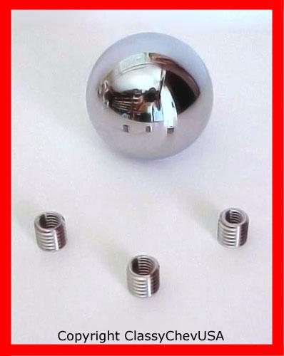 "Chromed Billet Aluminum Gear Shift Knob 2.25"" with Adaptor"