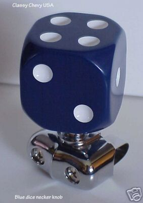 Brodie Necker Knob Rat Rod Classic Dice - BLUE 2 Inches - NEW