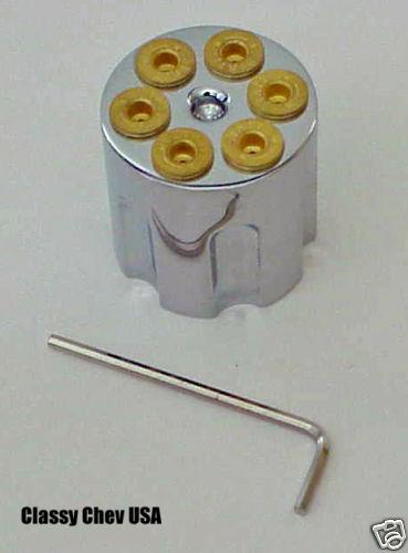 Rat Hot Rod Revolver Type Radio Headlight Knob Chrome