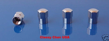 Hexagon Steel Metal Valve Stem Covers Caps - 4PC