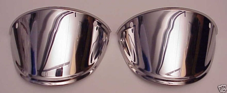 """Dropped Droopy 7"""" Headlight Visor Polished Stainless Steel"""