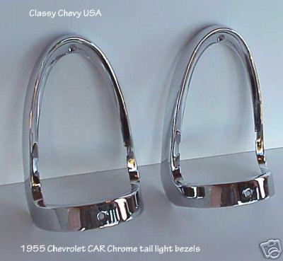 1955 Chevrolet Car Tail Light Bezels - CHROME - Pair
