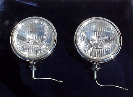 "1947-1955 Chevy Truck 1939-1948 CLEAR 6 volt 5"" Chrome Fog or Driving Lights Pr"