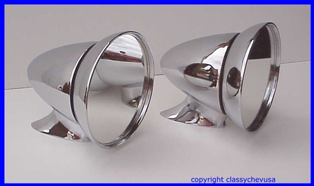PAIR Universal Sports car LARGE Racing Mirrors Chrome