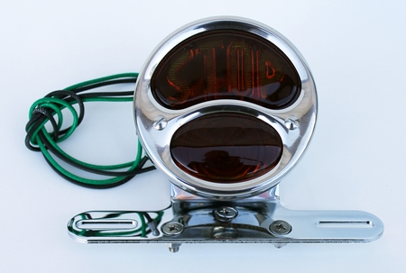 Motorcycle Fender Tail Light Chrome Bracket and STOP Tail Light SET Stainless Steel