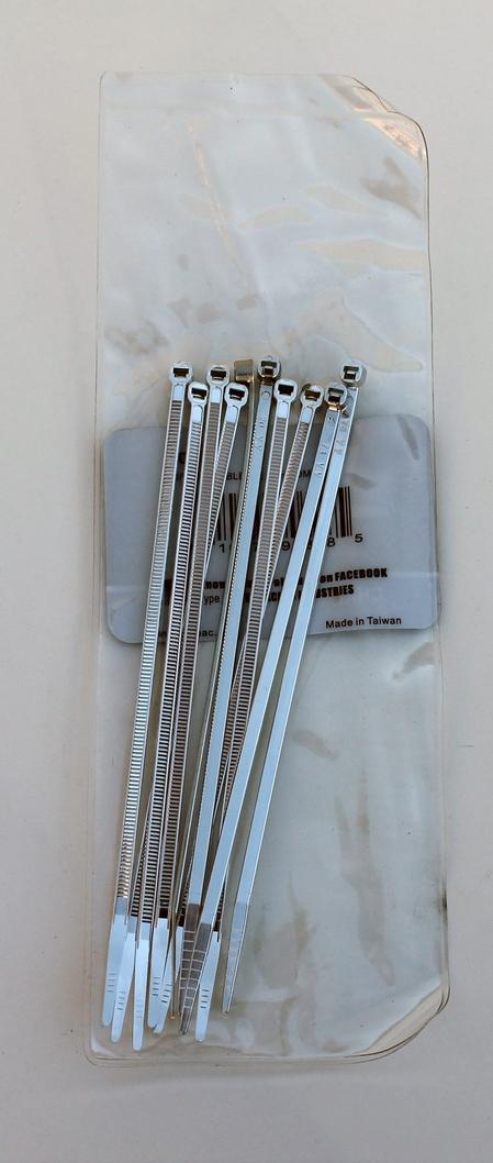 """6"""" Chromed Plastic Cable Tie Wraps - 10PC"""