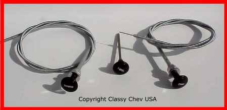 1936-39 Chevrolet Truck Choke & Throttle Knobs with Cables & Headlight Knob with Shaft