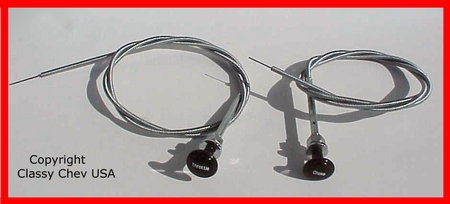 1936-39 Chevrolet Truck Choke & Throttle Knob with CABLE SET 2 PC