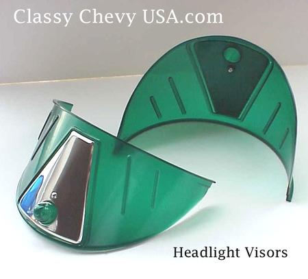 GREEN Plastic Headlight Visors - PAIR  NEW