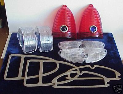 1955 Chevy 55 Chevrolet Red Blue Dot Tail Light & Park Light set with Gaskets