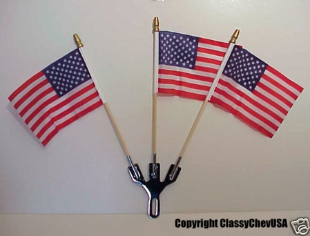 3 Flag Chrome Holder with 3 American Flags