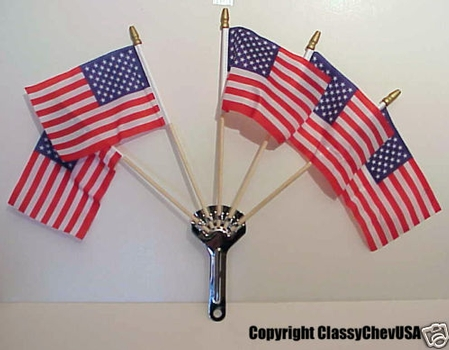 Deluxe QUALITY 5 Flag Holder w 5 American Flags