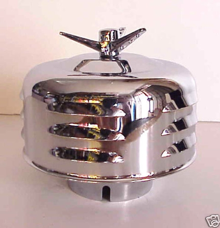 "Chrome Winged Bullet AIR CLEANER NEW 2 bbl 2 5/8"" 1p Louvered"