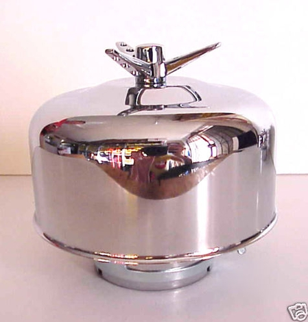 "Chrome Winged Bullet AIR CLEANER NEW 1 bbl 2 5/16"" 1p"