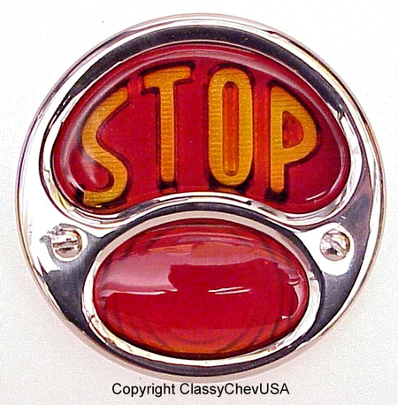 "Model A FORD Tail light assy LEFT ""STOP"" Stainless 12V"