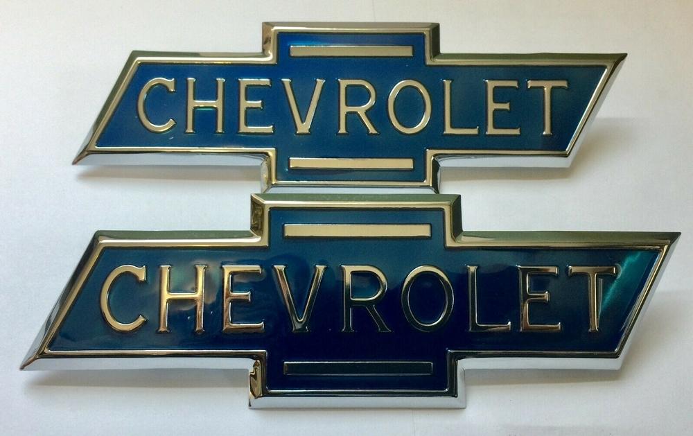 1936-1938 Chevrolet Truck Hood Side Emblems PAIR