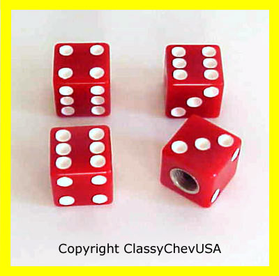 Red Dice Valve Stem Covers - 4 Pieces