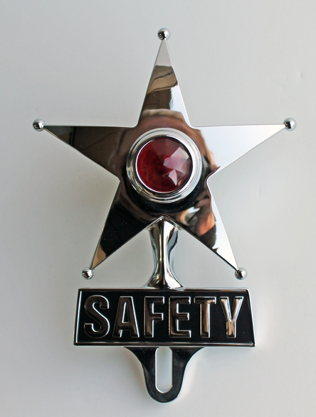 Safety Star License Plate Frame Topper Red