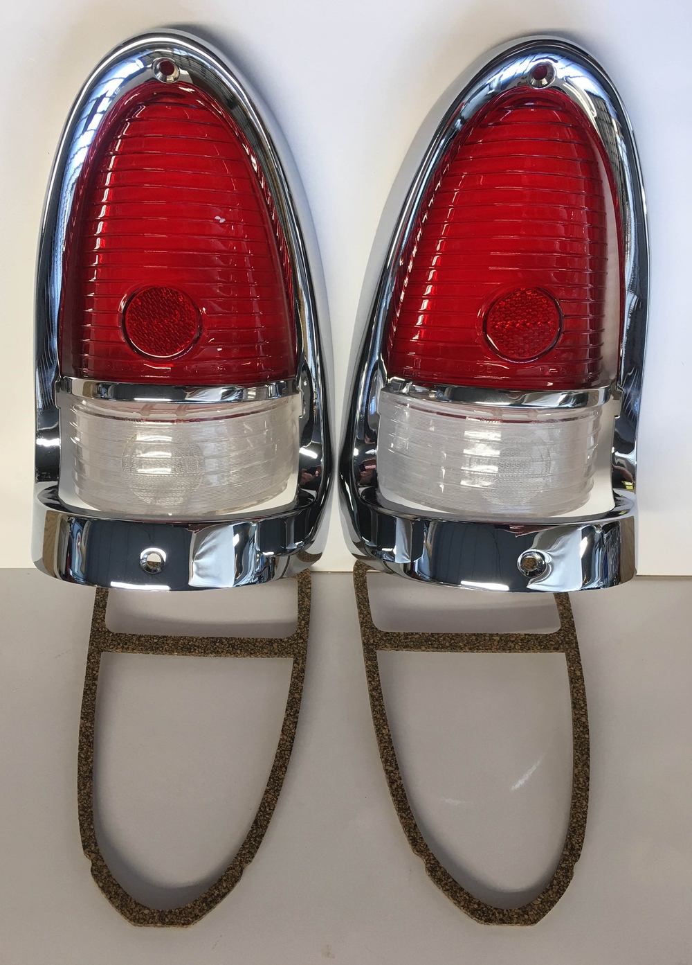 1955 Chevrolet Red LED Tail light Lens and Bezel Housing - 12 Pieces