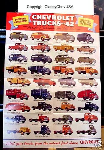 1942 Chevrolet Trucks Poster - Full Color Offset Print