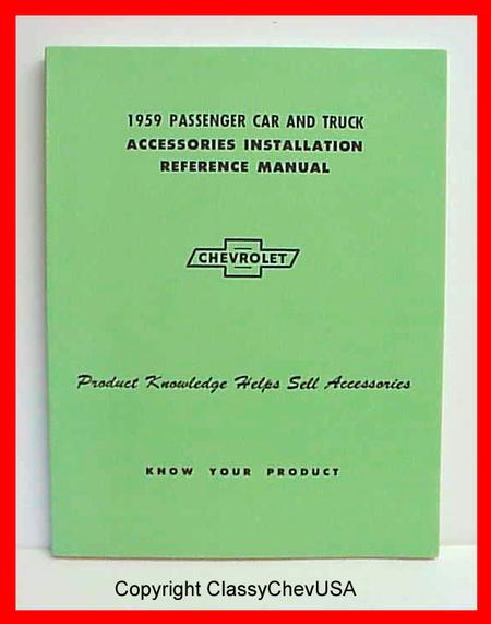 1959 Chevrolet Car & Truck Accessory Installation Manual