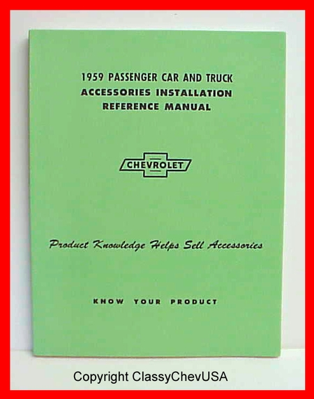 1959 Chevrolet Car & Truck Accessory Installation Manual