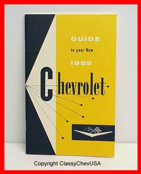 1959 Chevrolet Car Owners Manual Reproduction
