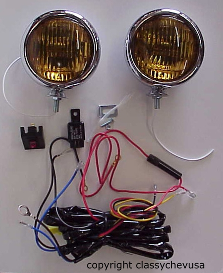"KIT 5"" Amber Fog Lights & Fog Lamp Wiring Harness NEW 12V"