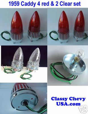 1959 Cadillac 4 Red and 2 Clear Tail Lights