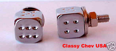Chrome Dice License Plate Bolts - 2 Pieces