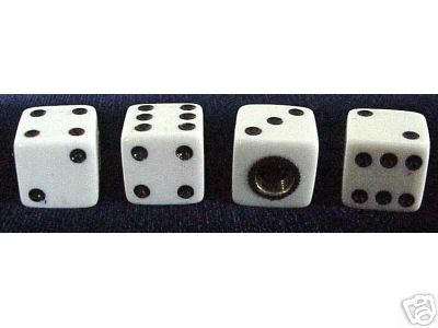 White Dice Valve Stem Caps - 4 Pieces
